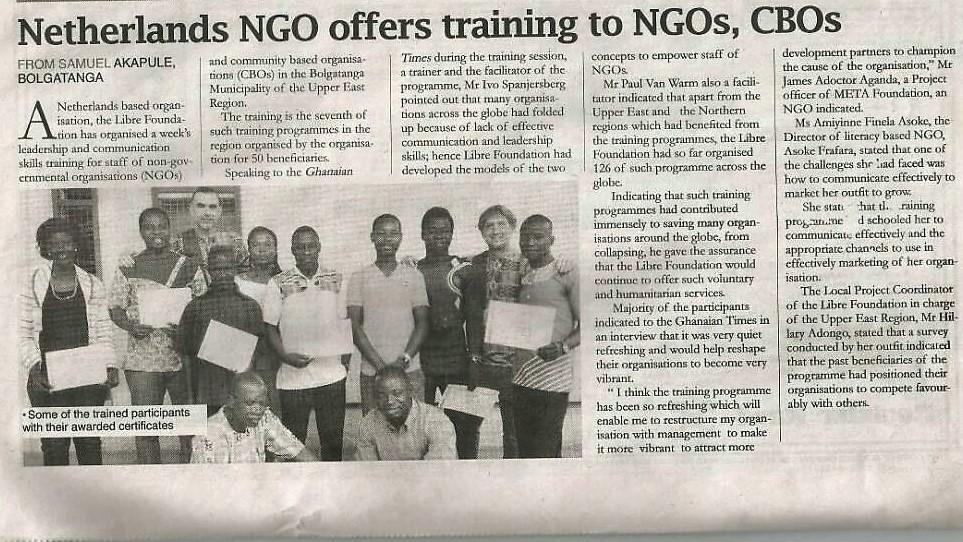 In Ghana heeft onze Libre-training de lokale pers gehaald!